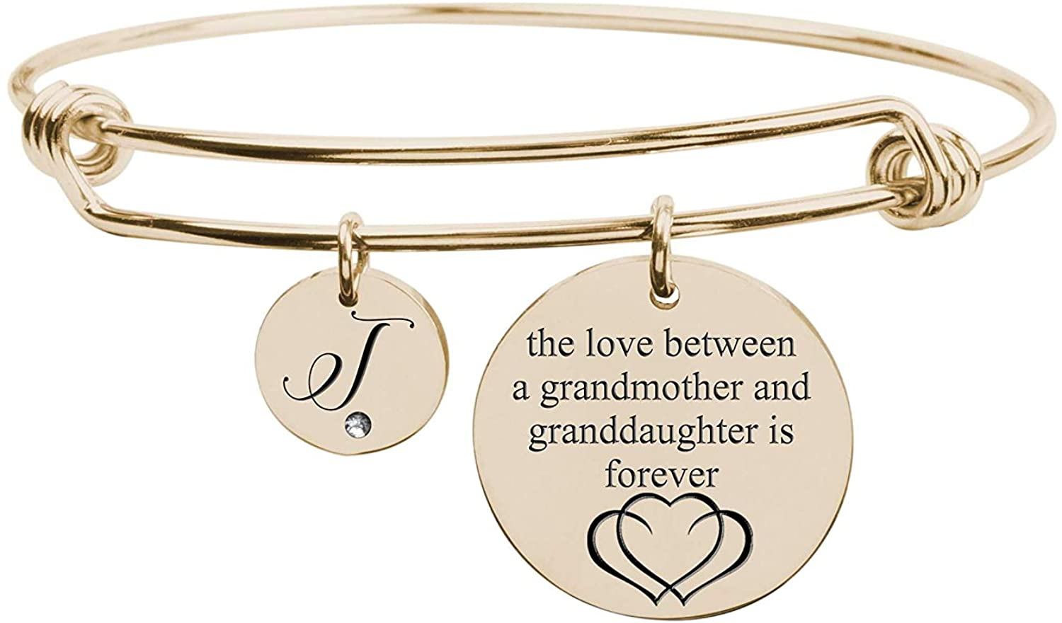 Pink Box Love Between Grandmother Initial Bangle with Cubic Zirconia - Gold - T