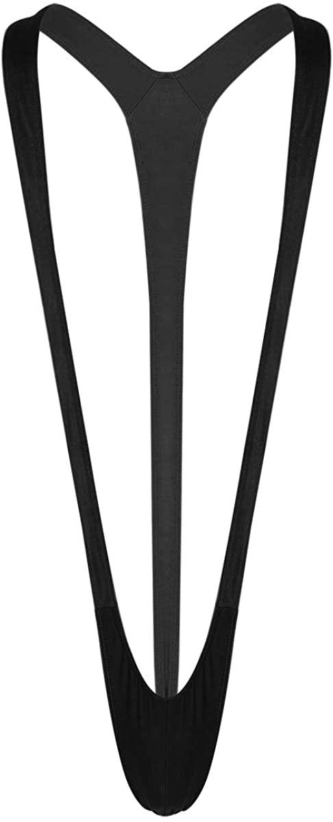 dPois Men's Mankini Swimsuit Thong V Sling Stretch Underwear Suspender Bodysuit Strap Thongs