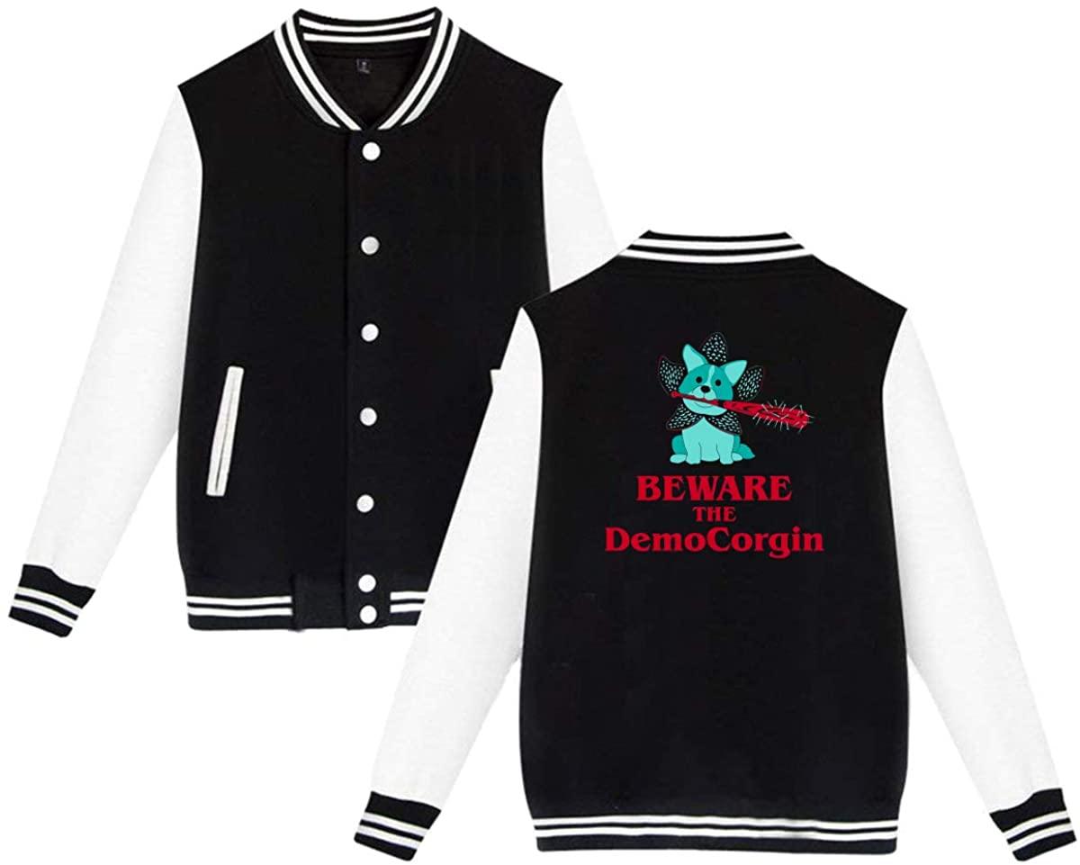 Beware The DemoCorgin - Demogorgon Corgi Unisex Baseball Jacket Varsity Jacket Black