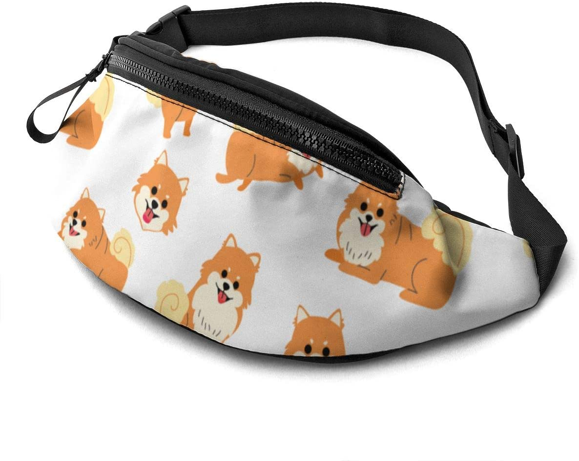 1 pomeranian pattern Fanny Pack for Men Women Waist Pack Bag with Headphone Jack and Zipper Pockets Adjustable Straps