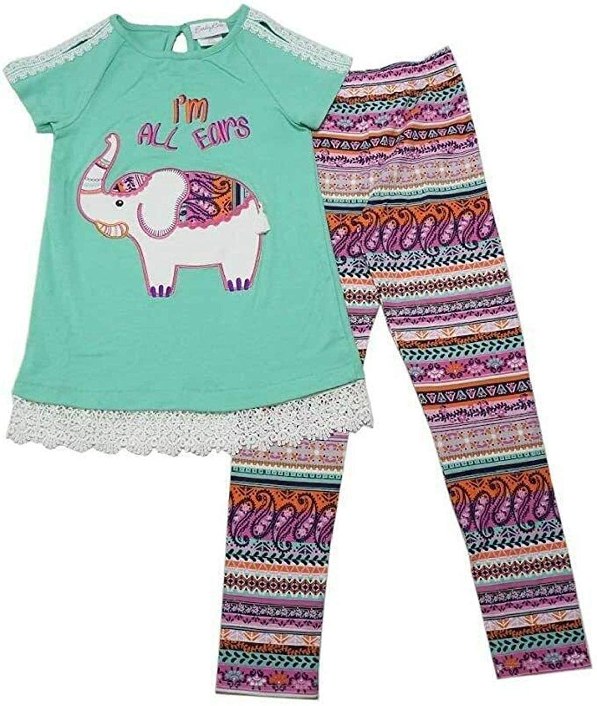 Emily Rose Leggings 2 PC Girls Set Elephant, Mint Color, Size 4