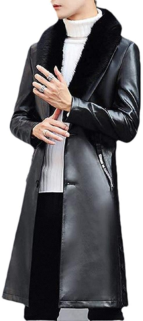 Xudcufyhu Men Faux-Fur-Collar Winter Overcoat Pu Leather Outerwear Long Trench Coat Jacket
