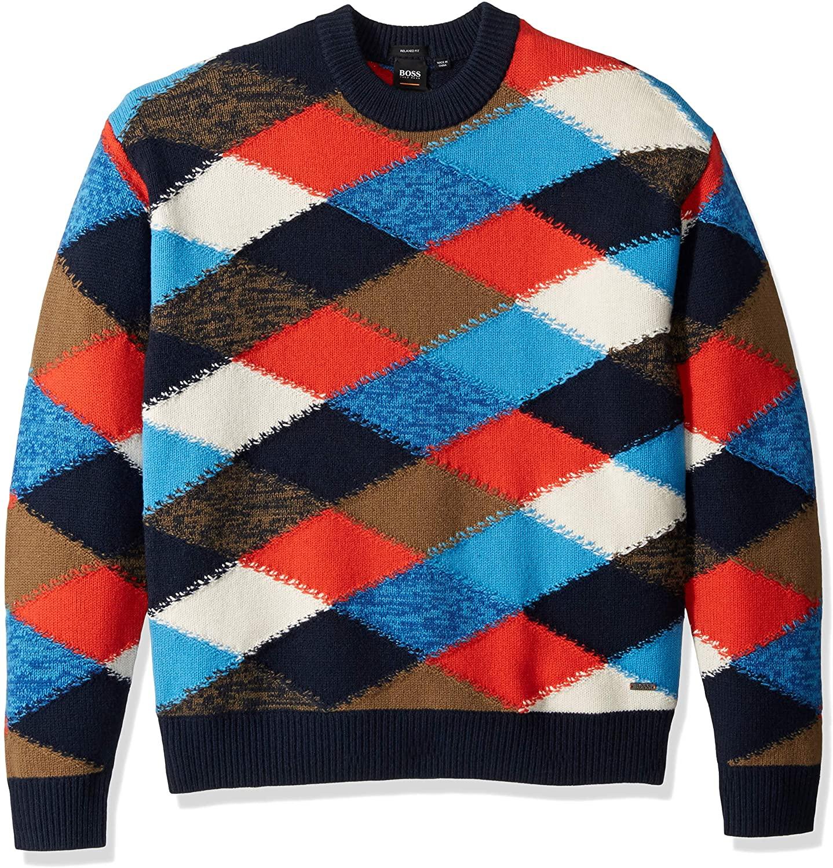 BOSS Orange Men's Kargyl Oversized Multicolor Argyle Intarsia Sweater