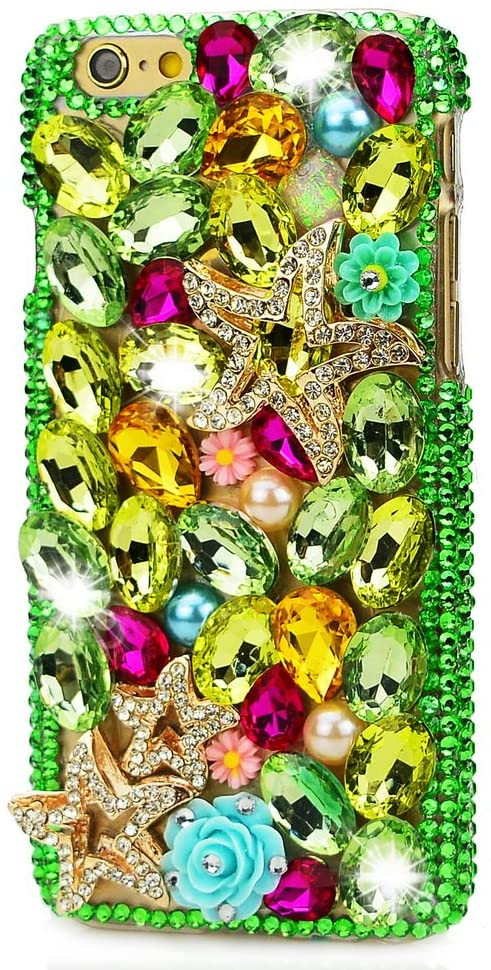 STENES ASUS ZenFone 4 Max Case - STYLISH - 100+ Bling Crystal - 3D Handmade Seafish Rose Flowers Design Protective Case For ASUS ZenFone 4 Max - Green
