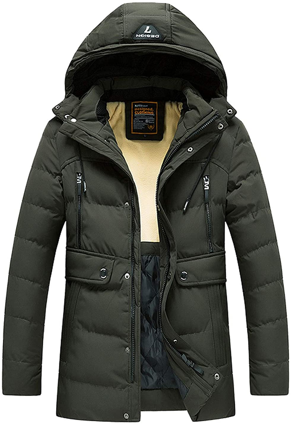 Flygo Men's Winter Warm Coat with Detachable Hood Parka Jacket