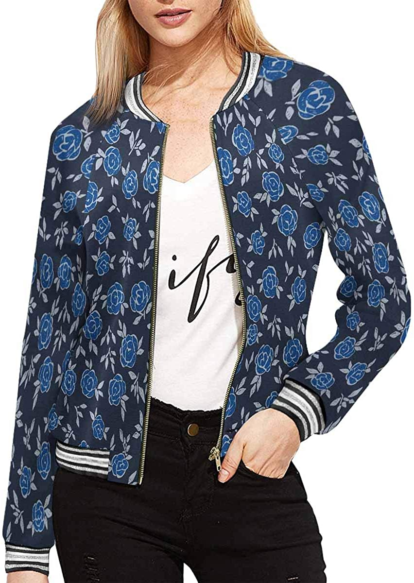INTERESTPRINT Women's Floral Pattern on Turquoise Jacket Zipper Coat Outwear