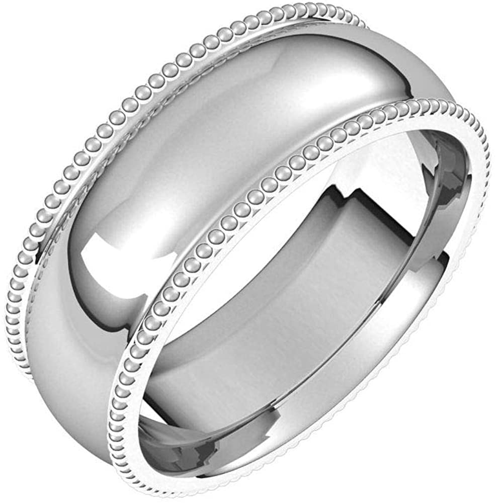 Tarnish Resistant Solid 925 Sterling Silver 7mm Beaded Comfort-Fit Wedding Band Size 9.5