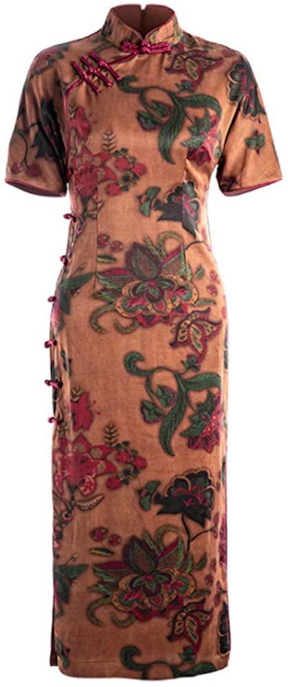 HangErFeng Qipao Silk Printed Long Silk Cheongsam with Chinese Elemental Fragrant Cloud Yarn
