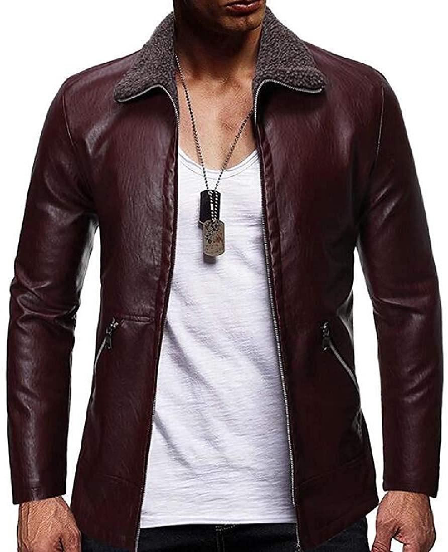 Men Pu Leather Jacket Lamb Wool Zip Up Thick Fleece Lined Motorcycle Coat Jacket