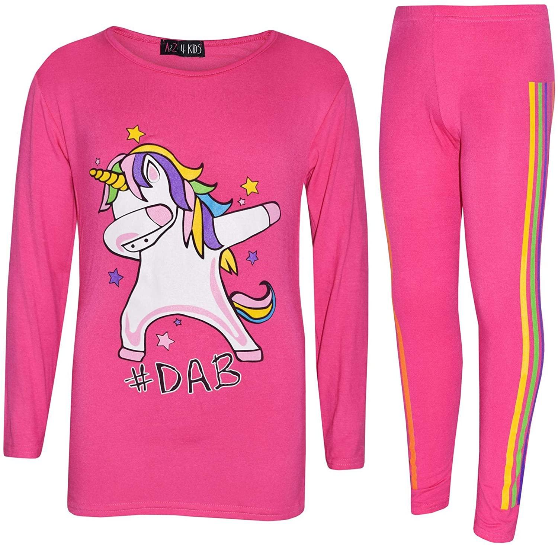 Kids Girls Rainbow Unicorn Dab Floss Long Sleeves Top Legging Outfit Set 7-13 Yr