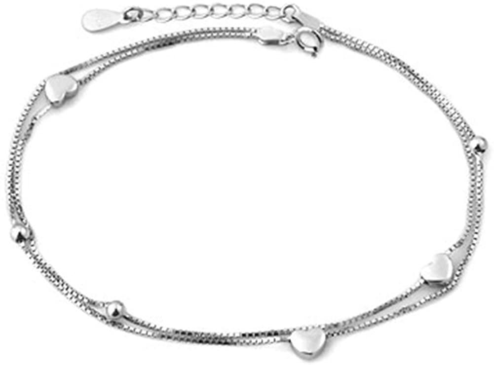 Jesse Ortega Double Chain Hearts Anklet Adjustable 925 Sterling Silver Ankle Bracelet