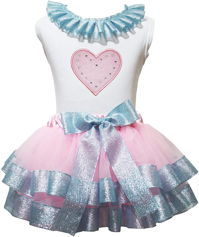Petitebella Dress Heart White Shirt Pink Light Blue Ribbon Petal Skirt Outfit Set Nb-8y