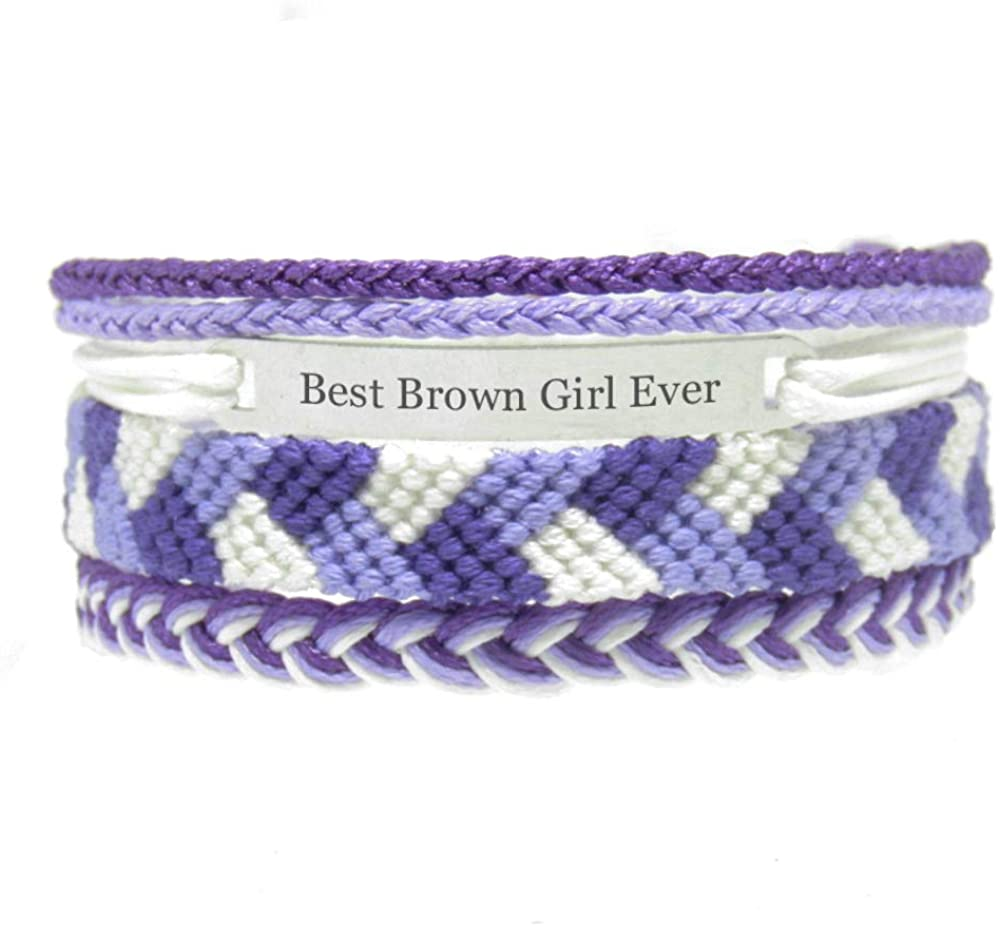 Miiras Race Engraved Handmade Bracelet for Women - Best Brown Girl Ever - Purple - Made of Embroidery Thread and Stainless Steel - Gift for Brown Girl