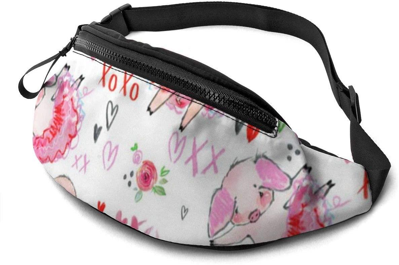 Funny pink pig Fanny Pack for Men Women Waist Pack Bag with Headphone Jack and Zipper Pockets Adjustable Straps
