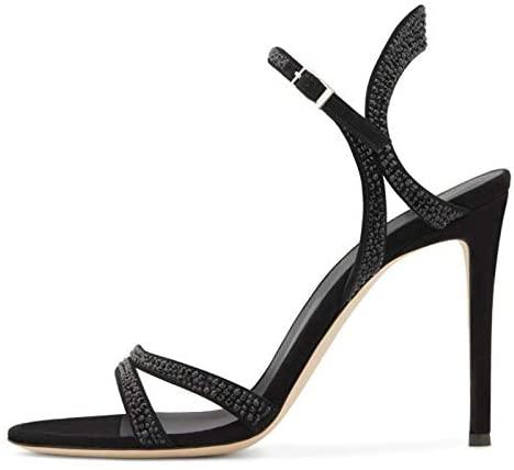 Black Suede Rhinestone Mid-Heel Buckle Sandals