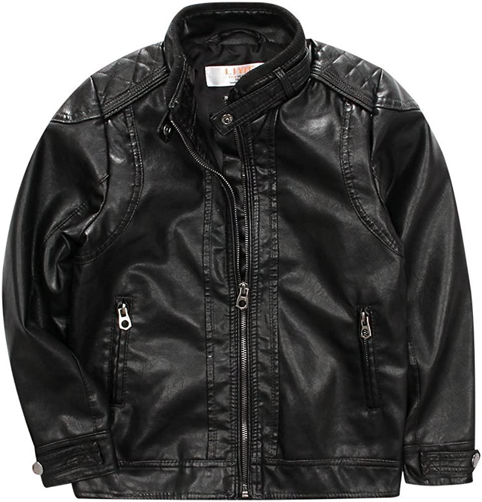 LJYH BoysClassic Stand-Collar Faux Leather Moto Biker Jacket