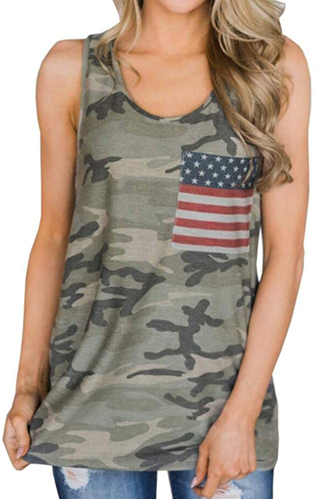 Womens American Flag Camo Tank Top Tee Sleeveless Shirts 4th July Patriotic USA Flag Vest Blouse Tops