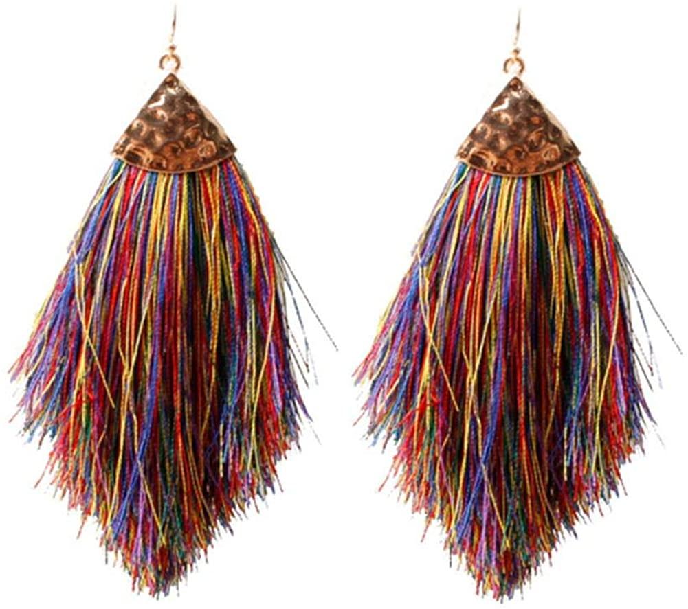1-3 Pairs Bohemian Feather Tassel Drop Earrings Boho Silky Thread Fan Fringe Hook Earrings Lightweight Long Strand Feather Shape Statement Dangle Earrings for Women Girl Jewelry