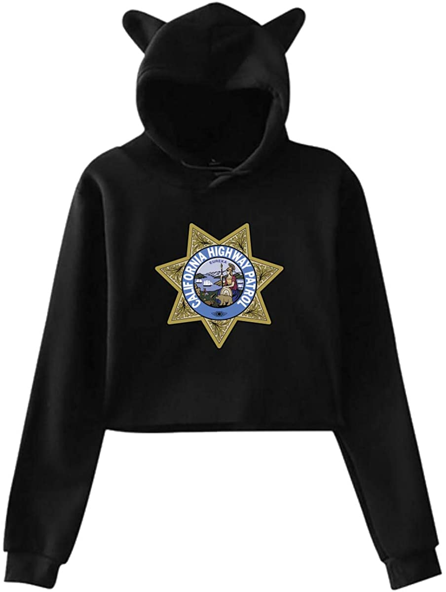 California Highway Patrol Women's Cat Ear Hoody Midriff-Baring Hoody