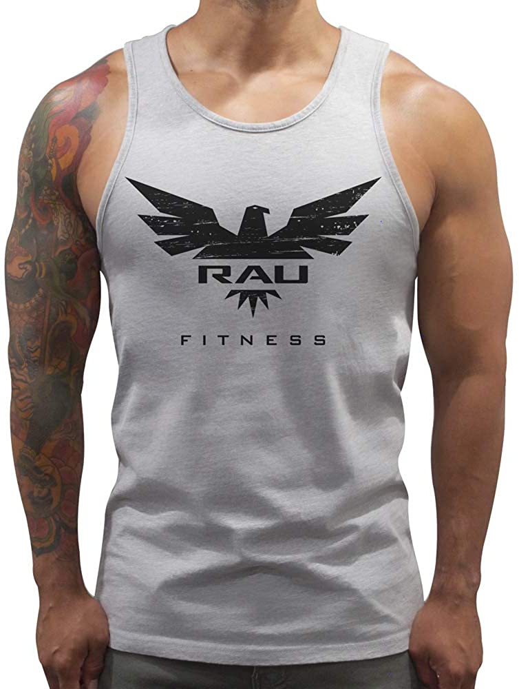 RAU Men's Athletic Fit Falcon Tank Top, Grey