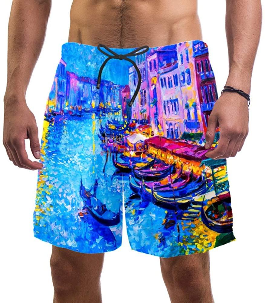 Desheze The Ship Water City Mens Swim Trunks Quick Dry Swim Shorts XXL