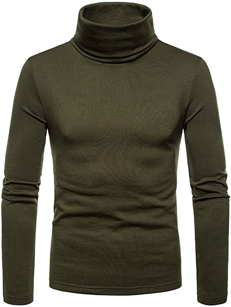 WakeUple Mens Turtleneck Slim Fit Thermal Sweater Casual Long Sleeve Twisted Knitted Pullover Sweaters (XXL, Z Navy Blue) (L, Z Army Green)