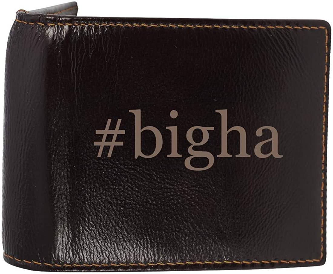 #bigha - Genuine Engraved Hashtag Soft Cowhide Bifold Leather Wallet