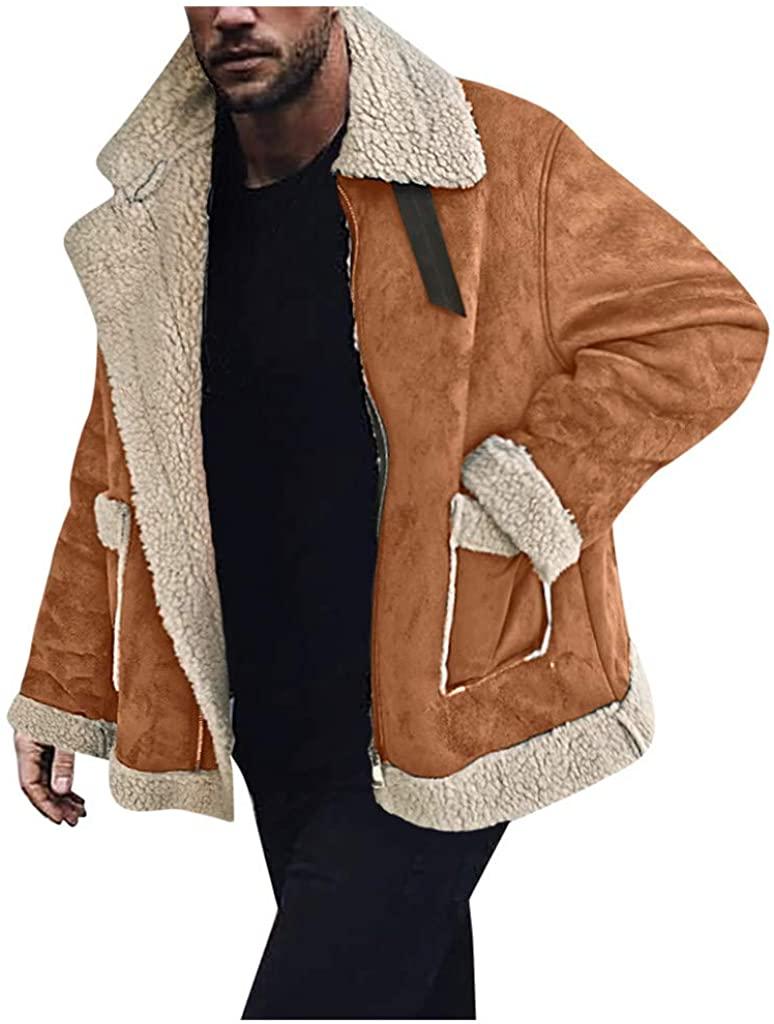 Bowake Men Sherpa Coat with Faux Fur Lining Winter Warm PU Leather Zipper Outwear