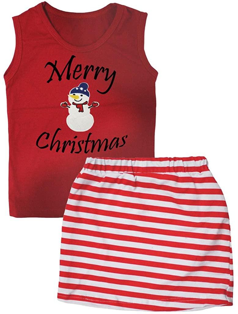 Petitebella Merry Christmas Snowman Vest Red White Stripes Skirt Set 1-8y