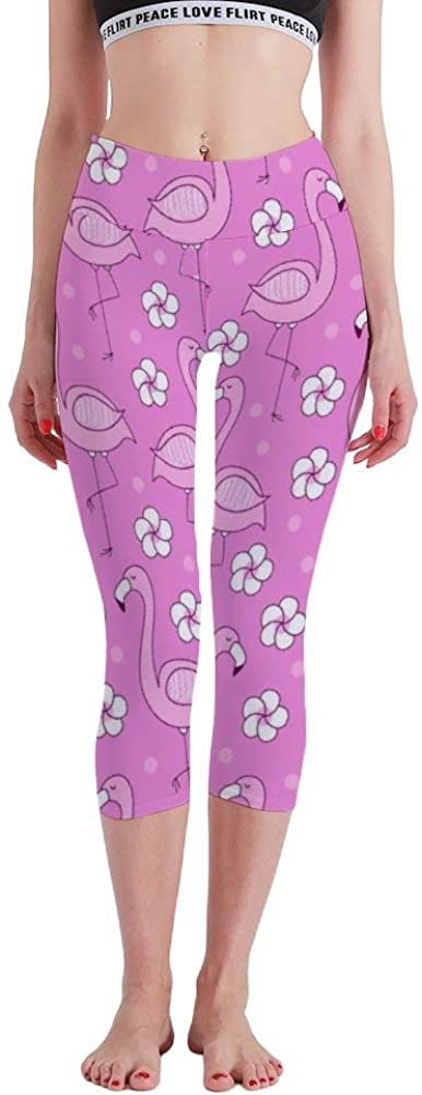 Osvbs Pink Flamingo Flowers Palm Tree Leaves Image high Waist Seven Points Yoga Pants Tights Belly Control