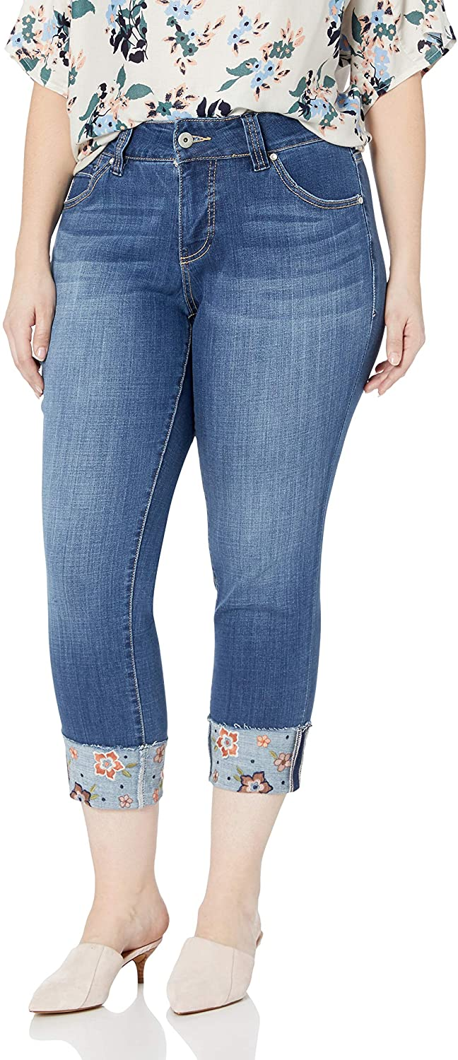 Jag Jeans Girls' Plus Size Carter Girlfriend Jean with Embroidered Cuff