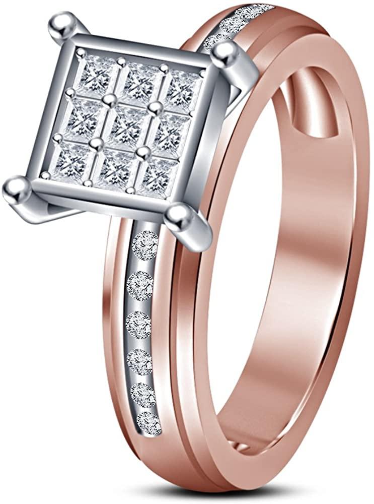 TVS-JEWELS 925 Sterling Silver Black Gold Finish Princess Cut Black Cubic Zirconia Engagement Ring