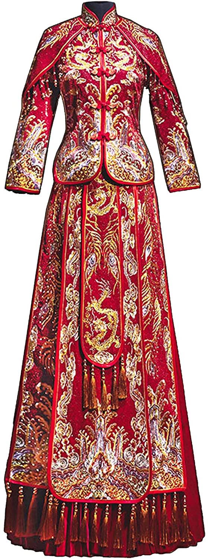 HangErFeng Chinese Wedding Suit Dresses Embroidered Ironing Beads Bride Tassel Beading Cheongsam