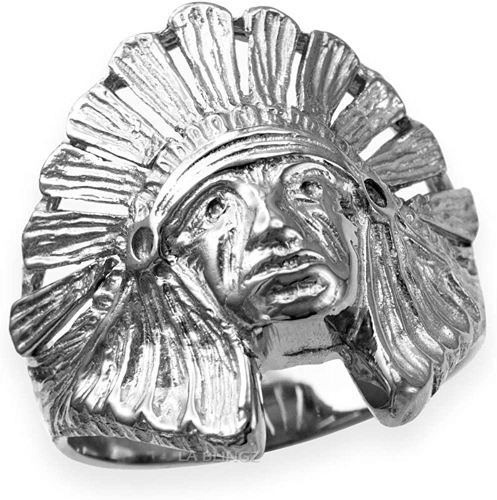 LA BLINGZ 10K White Gold Indian Chief Ring