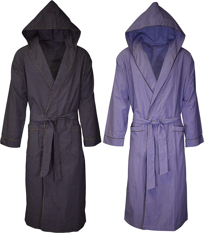 Andrew Scott Mens 2-Pack Hooded Long Robe/Light Weight Premium Broadcloth Cotton Blend Woven Full Length Lounge and Bathrobe