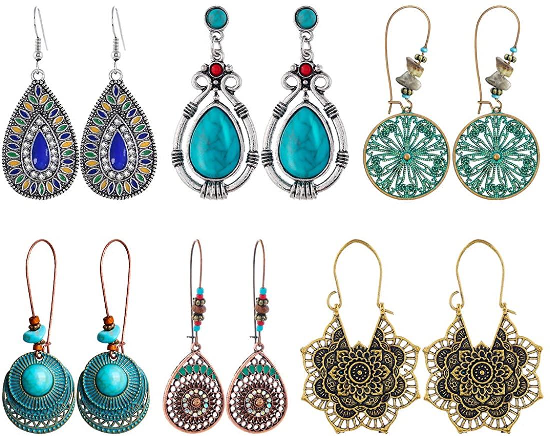 ZDZDY Vintage Bohemian Drop Dangle Earrings Boho Hollow Carving Hoop Earrings For Women Girls 6 pairs