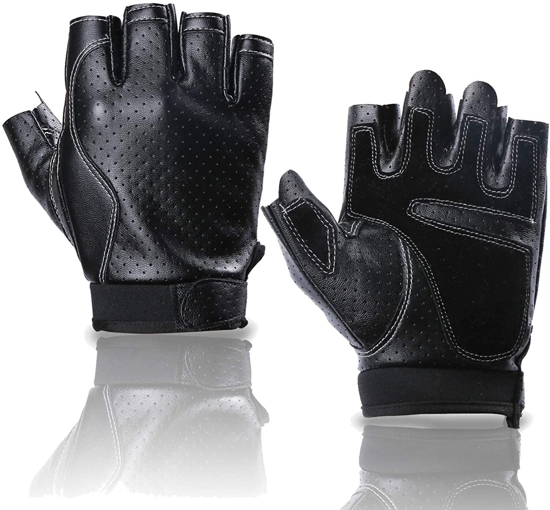 BOBURACN Leather Driving Fingerless Gloves for Men Women, Motorcycle Half Finger Gloves with Anti Slip Layer