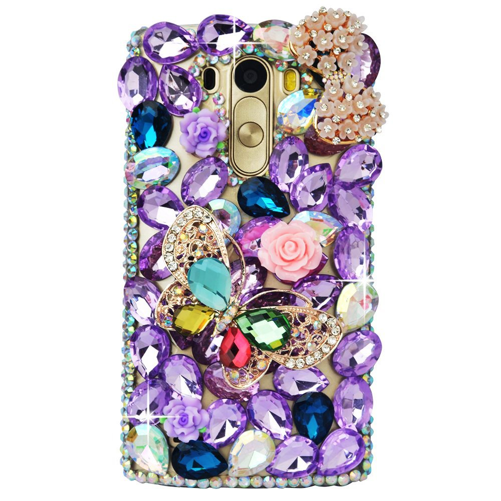 STENES LG Fortune Case - 3D Handmade Luxury Crystal Butterfly Rose Flowers Bowknot Sparkle Rhinestone Design Cover Bling Case For LG Aristo/Fortune/LV3 Retro Bowknot Dust Plug - Purple