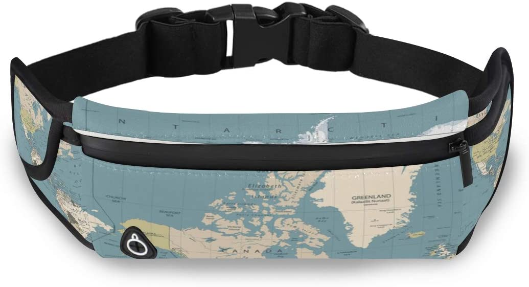 Fashion Geography Art World Map Earth Travel Waist Pack For Women Gym Fanny Packs For Women Womans Fashion Bags With Adjustable Strap For Workout Traveling Running
