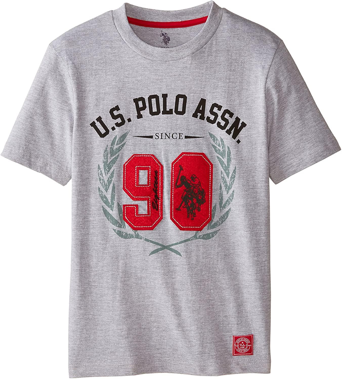 U.S. Polo Assn. Boys' Crew Neck Iconic Graphic Logo T-Shirt,Light Heather Gray,14/16