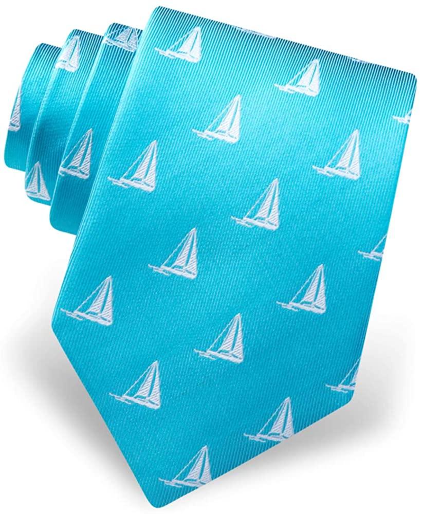 Men's 100% Silk Nautical Sailboat Sailing Pier Pressure Necktie Tie Neckwear