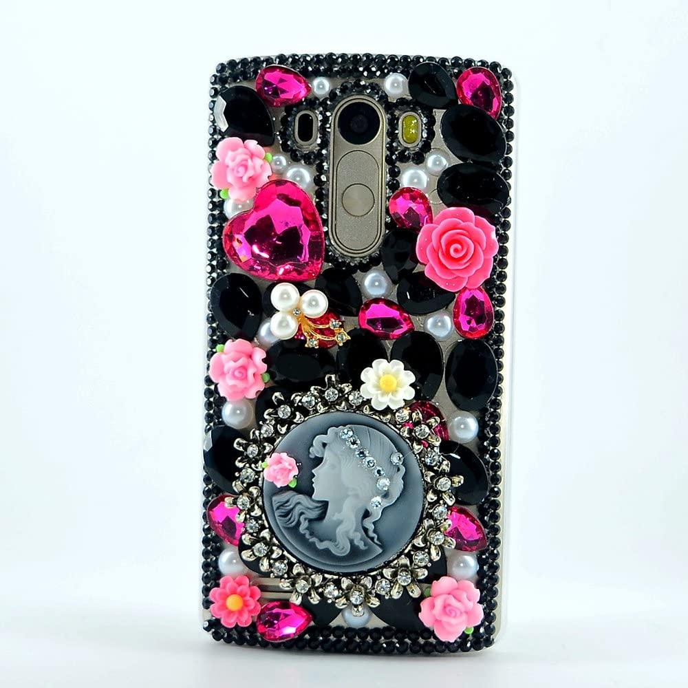 STENES LG K20 V (VS501) / LG K20 Plus/LG K10 (2017) Case - 3D Handmade Luxury Crystal Sparkle Rhinestone Cover With Retro Dust Plug - Flowers Heart Girl/Black