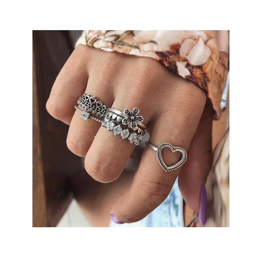 Campsis 6PCS Silver Flower Ring Sets Crystal Heart Joint Knuckle Rings Multi Size Ring Jewelry for Women and Girls