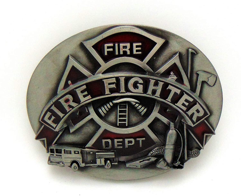NEW FIRE FIGHTER Western Cowboy Fire Tool Zinc Alloy Belt Buckle