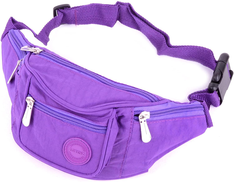 Ladies/Womens Crinkled Nylon Bum Bag/Waist Bag/Money Holder - Purple