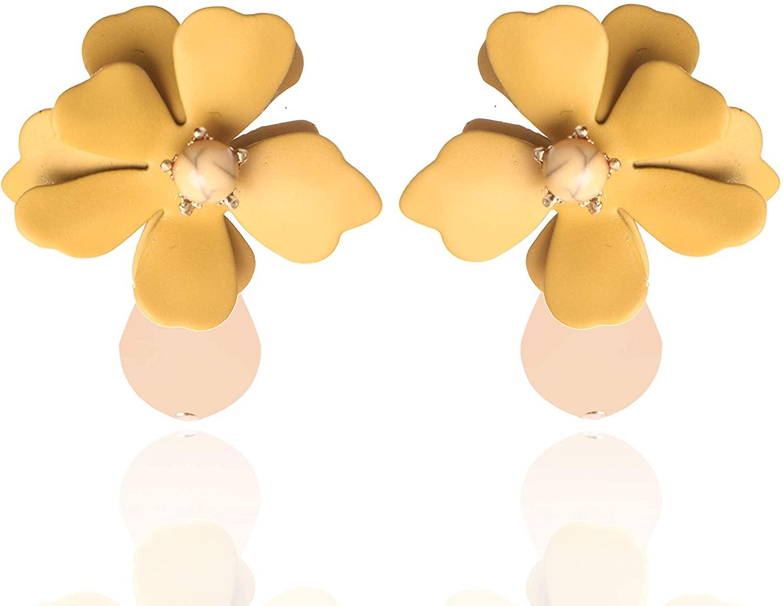AMYJANE Flower Earrings for Women - Chic Flower Petal Statement Earrings Boho Stud Earrings Womens Metal Matte Flower Petal Stud Pierced Earrings …
