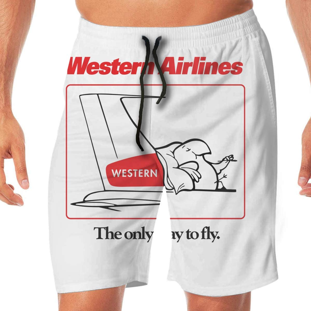 Western Airlines The Only Way to Fly Cartoon Bird Quick Dryswim Trunks Water Shorts Swimsuit Beach Shorts