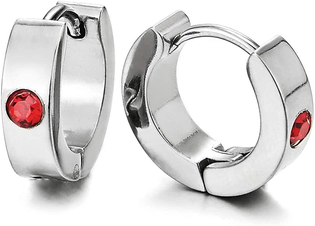 Pair of Small Huggie Hinged Hoop Earrings Stainless Steel with Red Cubic Zirconia Unisex Men Women