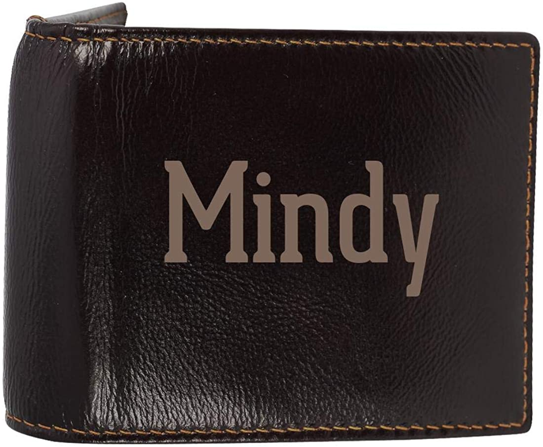 Mindy - Genuine Engraved First Name Soft Cowhide Bifold Leather Wallet