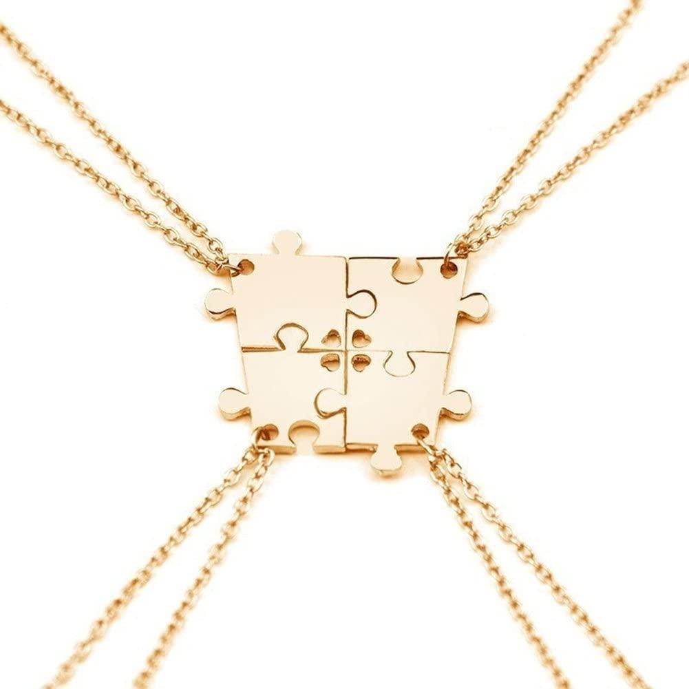 adonpshy Valentine's Day Wedding Anniversary Jewelry 4Pcs Interlocking Jigsaw Puzzle Pendant Chain Necklace for Women Kids Child Necklace